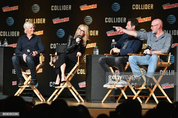 Chris Carter Gillian Anderson David Duchovny and Mitch Pileggi speak onstage at The XFiles panel during 2017 New York Comic Con Day 4 on October 8...