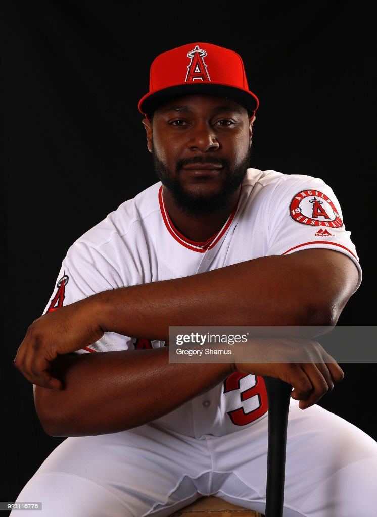 Chris Carter #31 of the Los Angeles Angels poses during Los Angeles Angels Photo Day at Tempe Diablo Stadium on February 22, 2018 in Tempe, Arizona.