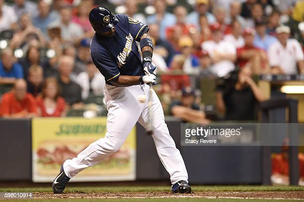 Chris Carter of the Milwaukee Brewers strikes out in the ninth inning of a game against the St Louis Cardinals at Miller Park on August 30 2016 in...