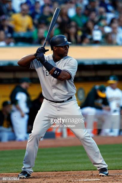 Chris Carter of the New York Yankees at bat against the Oakland Athletics during the second inning at the Oakland Coliseum on June 15 2017 in Oakland...