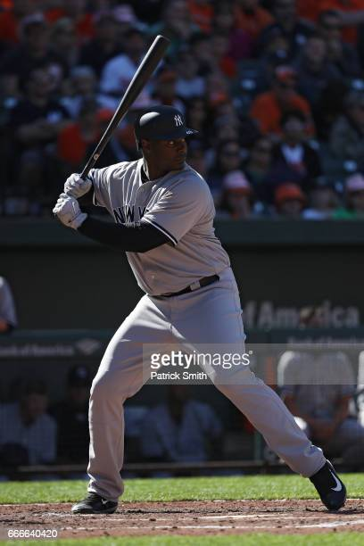 Chris Carter of the New York Yankees bats against the Baltimore Orioles at Oriole Park at Camden Yards on April 9 2017 in Baltimore Maryland
