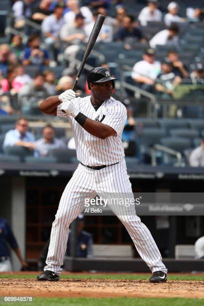 Chris Carter of the New York Yankees bats against the Tampa Bay Rays during their game at Yankee Stadium on April 12 2017 in New York City
