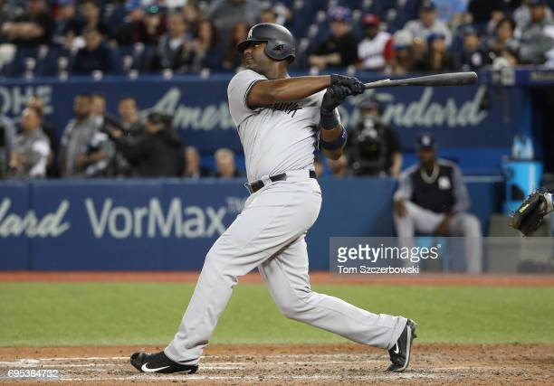 Chris Carter of the New York Yankees bats in the ninth inning during MLB game action against the Toronto Blue Jays at Rogers Centre on June 1 2017 in...