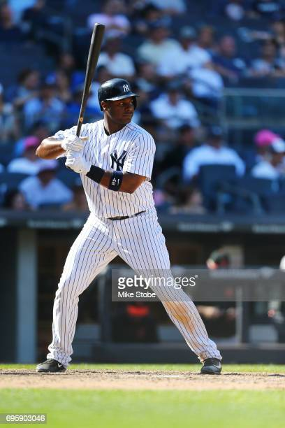 Chris Carter of the New York Yankees in action against the Baltimore Orioles at Yankee Stadium on June 11 2017 in the Bronx borough of New York City...