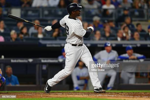 Chris Carter of the New York Yankees in action against the Kansas City Royals at Yankee Stadium on May 23 2017 in the Bronx borough of New York City...