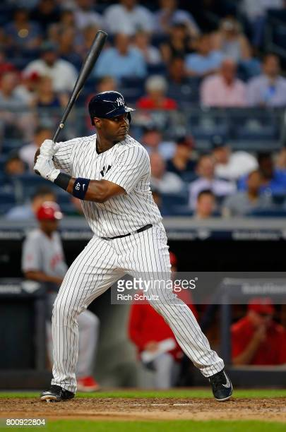 Chris Carter of the New York Yankees in action against the Los Angeles Angels of Anaheim during a game at Yankee Stadium on June 22 2017 in the Bronx...