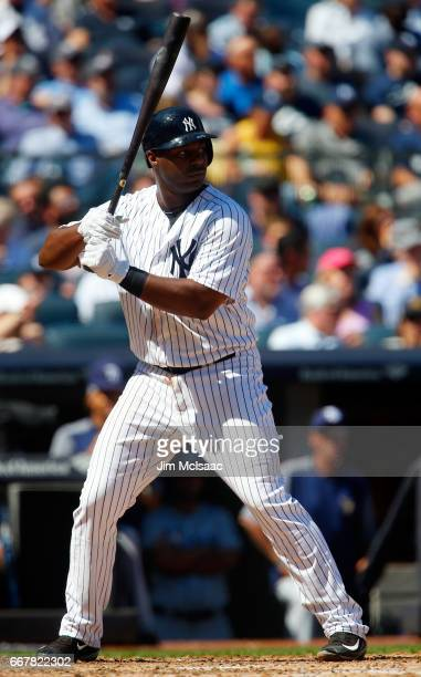 Chris Carter of the New York Yankees in action against the Tampa Bay Rays on Opening Day at Yankee Stadium on April 10 2017 in the Bronx borough of...
