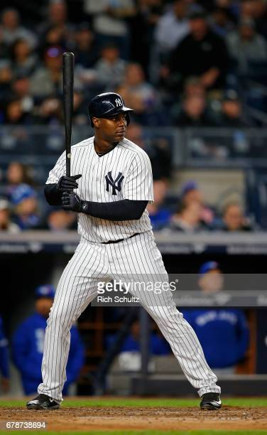 Chris Carter of the New York Yankees in action against the Toronto Blue Jays during a game at Yankee Stadium on May 3 2017 in New York City The homer...