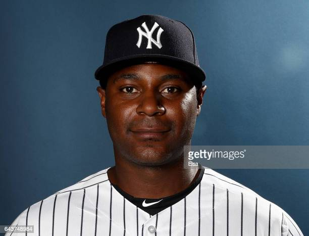 Chris Carter of the New York Yankees poses for a portrait during the New York Yankees photo day on February 21 2017 at George M Steinbrenner Field in...