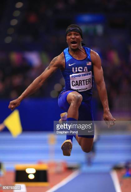 Chris Carter of United States competes in the Triple Jump Mens Final during the IAAF World Indoor Championships on Day Three at Arena Birmingham on...