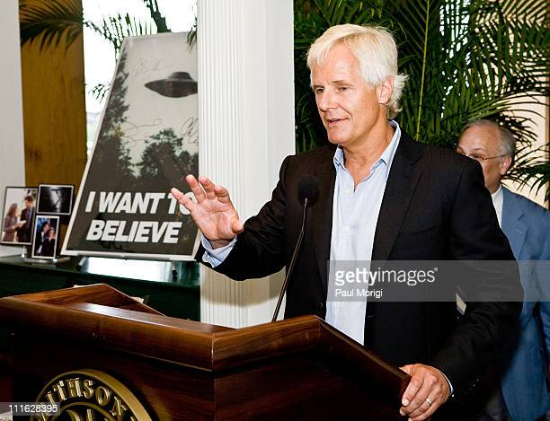 Chris Carter 'The XFiles' series and film writer director and producer talks about 'XFiles' memorabilia at the Twentieth Century Fox donation...