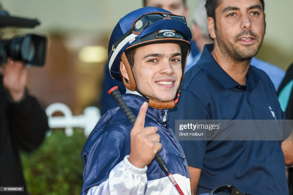Chris Caserta after winning the Ladbrokes Handicap at Ladbrokes Park Lakeside Racecourse on February 14, 2018 in Springvale, Australia.