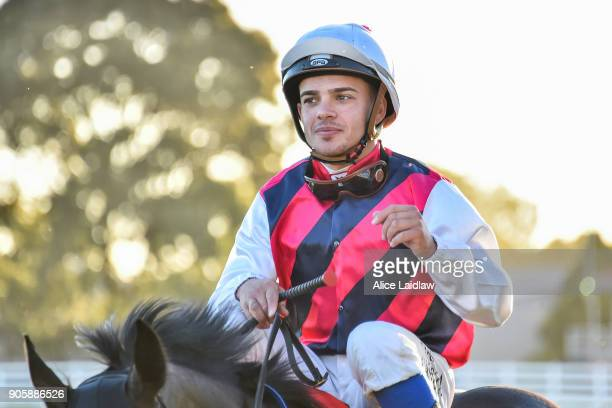 Chris Caserta returns to scale after winning the Ladbrokes Odds Boost at Caulfield Racecourse on January 17 2018 in Caulfield Australia