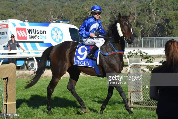 Chris Caserta returns to the mounting yard on Apocalypto after winning Mother's Day Luncheon @ Trackside BM58 Handicap at Kilmore Racecourse on April...