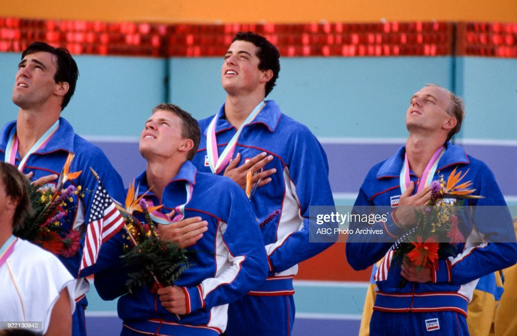 Men's Swimming 4 × 100 Metre Freestyle Relay Medal Ceremony At The 1984 Summer Olympics : News Photo