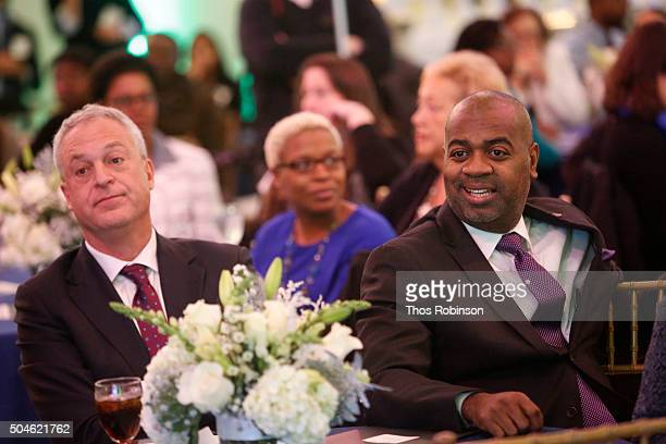 Chris Cerf Superintendent of Newark Public Schools and Ras Baraka Mayor of Newark attend Newark Charter Schools Compact Signing on January 11 2016 in...