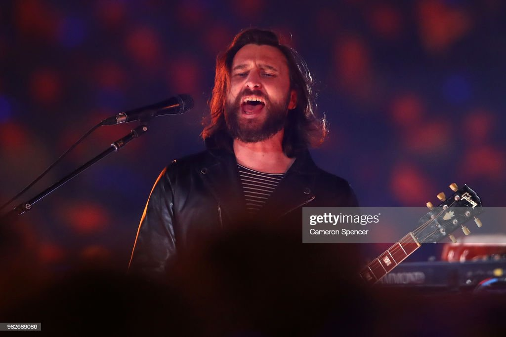Chris Cester and his band JET perform during game two of the State of Origin series between the New South Wales Blues and the Queensland Maroons at ANZ Stadium on June 24, 2018 in Sydney, Australia.