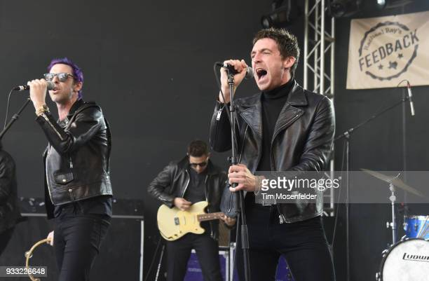 Chris Cester and Miles Kane of Dr Pepper's Jaded Hearts Club Band perform during Rachael Ray's Feedback party at Stubb's Bar B Que during the South...