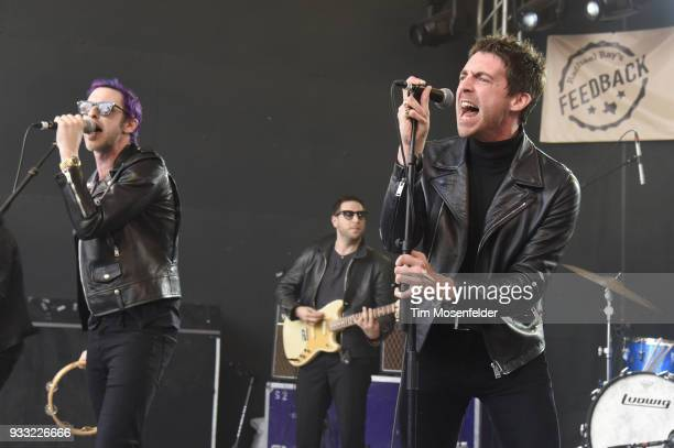Dominick Howard and Miles Kane of Dr Pepper's Jaded Hearts Club Band perform during Rachael Ray's Feedback party at Stubb's Bar B Que during the...
