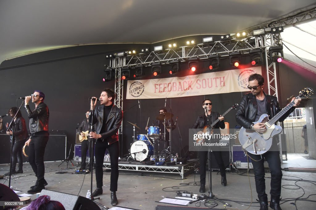 Chris Cester, Miles Kane, and Matthew Bellamy and Dr. Pepper's Jaded Hearts Club Band perform during Rachael Ray's Feedback party at Stubb's Bar B Que during the South By Southwest conference and festivals on March 17, 2018 in Austin, Texas.