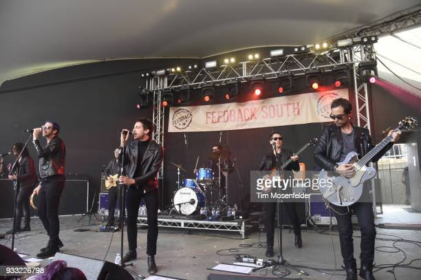 Dominick Howard Miles Kane and Matthew Bellamy and Dr Pepper's Jaded Hearts Club Band perform during Rachael Ray's Feedback party at Stubb's Bar B...