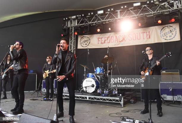 Chris Cester Miles Kane and Matthew Bellamy and Dr Pepper's Jaded Hearts Club Band perform during Rachael Ray's Feedback party at Stubb's Bar B Que...