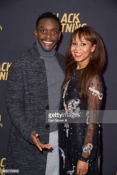 Chris Chalk and guest attend the 'Black Lightning' World Premiere at National Museum Of African American History Culture on January 13 2018 in...