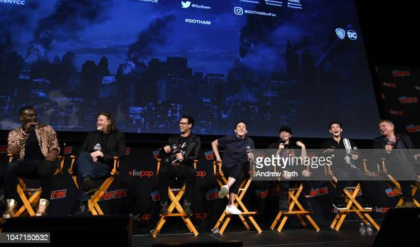 Chris Chalk, Donal Logue, Cory Michael Smith, Robin Taylor, Camren Bicondova, David Mazouz and Sean Pertwee speak onstage at the Gotham Special Video...