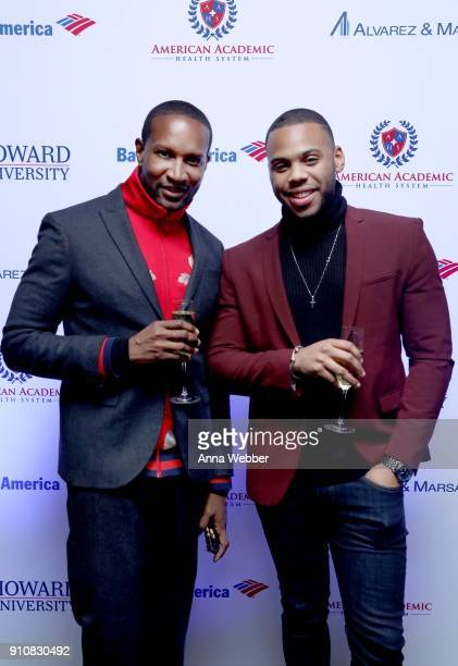 Chris Chambers and Kerry Smalls attend La La Anthony's PreGrammy Party Presented by Howard University on January 26 2018 in New York City