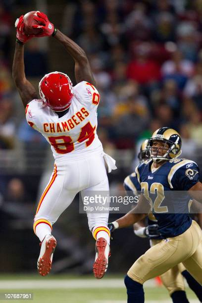 Chris Chambers of the Kansas City Chiefs hauls in a pass against Bradley Fletcher of the St Louis Rams at the Edward Jones Dome on December 19 2010...