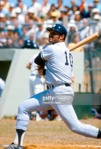Chris Chambliss of the New York Yankees bats during an Major League Baseball spring training game circa 1977 Chambliss played for the Yankees from...