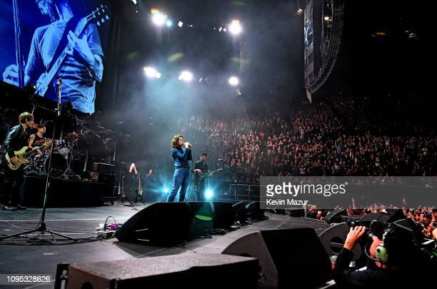 Chris Chaney Brandi Carlile and Tom Morello perform onstage during I Am The Highway A Tribute To Chris Cornell at The Forum on January 16 2019 in...