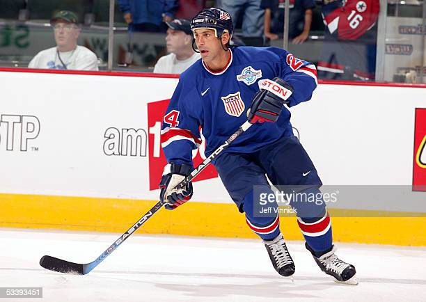 Chris Chelios of Team USA skates against Team Russia during the World Cup of Hockey on September 2 2004 at the Xcel Center in StPaul Minnesota Russia...