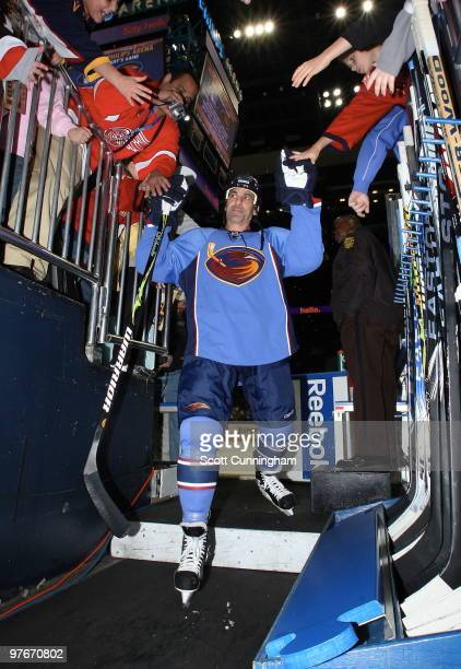 Chris Chelios of the Atlanta Thrashers heads off the ice before the game against the New York Rangers at Philips Arena on March 12 2010 in Atlanta...
