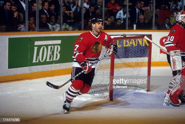 Chris Chelios of the Chicago Blackhawks skates on the ice during an NHL game against the Toronto Maple Leafs on April 12 1994 at the Maple Leaf...