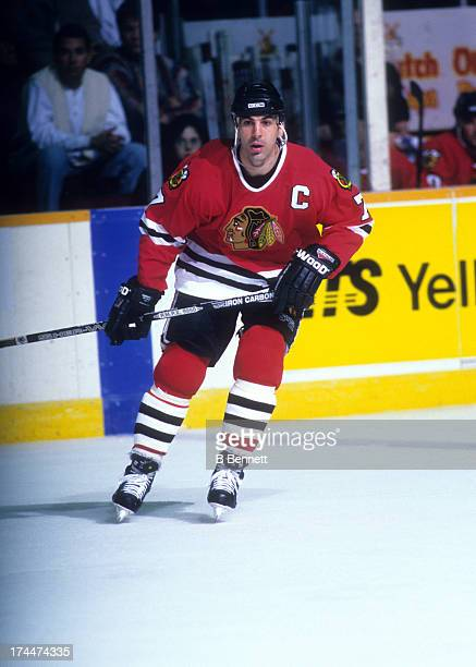 Chris Chelios of the Chicago Blackhawks skates on the ice during an NHL game against the Winnipeg Jets on February 23, 1996 at the Winnipeg Arena in...
