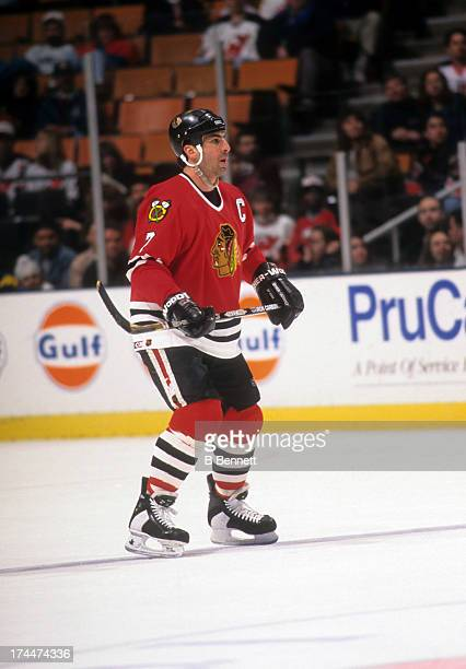 Chris Chelios of the Chicago Blackhawks skates on the ice during an NHL game against the New Jersey Devils on March 22 1996 at the Continental...