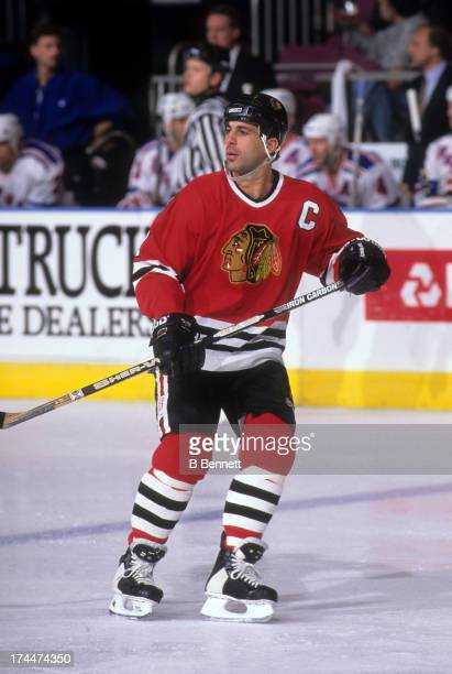 Chris Chelios of the Chicago Blackhawks skates on the ice during an NHL game against the New York Rangers on December 6 1995 at the Madison Square...