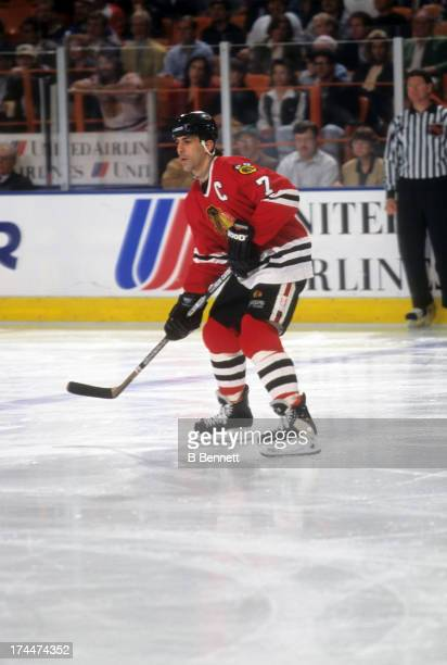 Chris Chelios of the Chicago Blackhawks skates on the ice during an NHL game against the Los Angeles Kings on February 6 1996 at the Great Western...