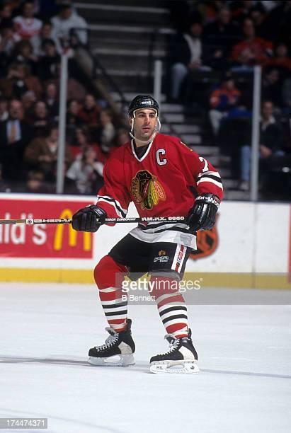 Chris Chelios of the Chicago Blackhawks skates on the ice during an NHL game against the New Jersey Devils on January 10 1997 at the Continental...
