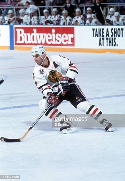 Chris Chelios of the Chicago Blackhawks skates with the puck during an NHL game against the New York Rangers on March 11 1992 at the Madison Square...