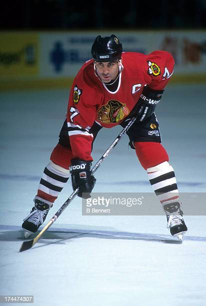Chris Chelios of the Chicago Blackhawks waits for the faceoff during an NHL game against the Winnipeg Jets on November 14 1995 at the Winnipeg Arena...