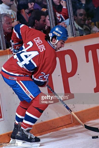 Chris Chelios of the Montreal Canadiens skates against the Toronto Maple Leafs during NHL game action on January 27 1990 at Maple Leaf Gardens in...