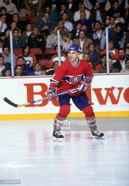 Chris Chelios of the Montreal Canadiens skates on the ice during an NHL game against the Philadelphia Flyers on January 15 1987 at the Spectrum in...