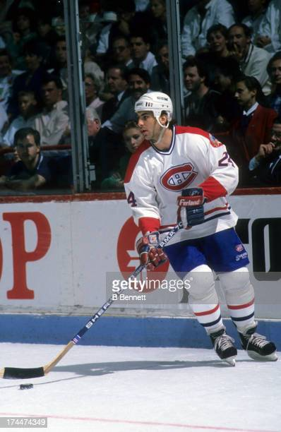 Chris Chelios of the Montreal Canadiens skates with the puck during the 1989 Stanley Cup Finals against the Calgary Flames in May 1989 at the...