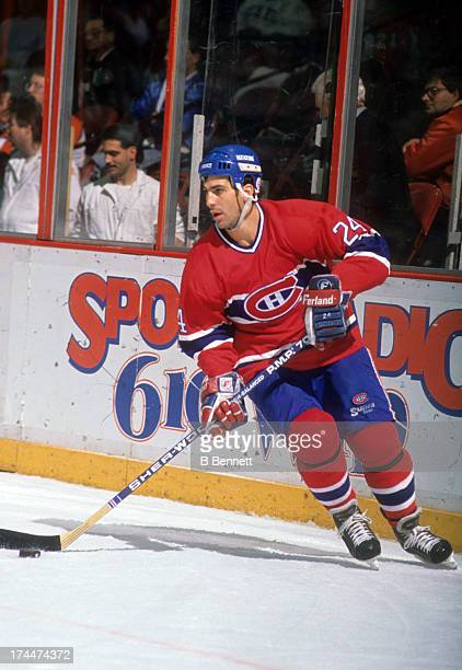 Chris Chelios of the Montreal Canadiens skates with the puck during an NHL game against the Philadelphia Flyers on February 16 1988 at the Spectrum...