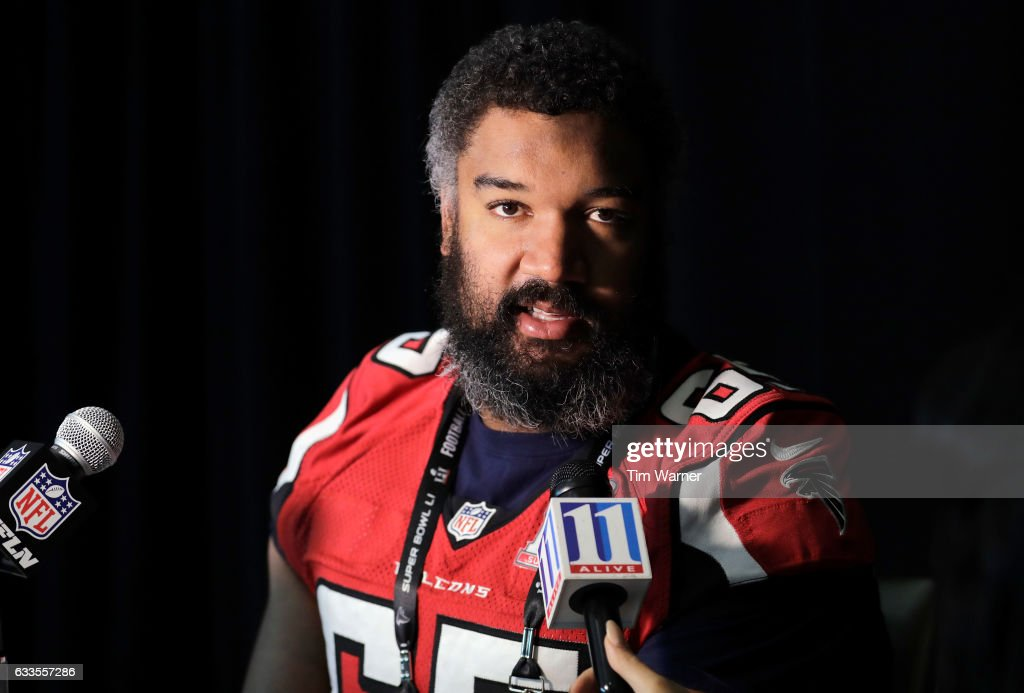Chris Chester #65 of the Atlanta Falcons addresses the media during the Super Bowl LI press conference on February 2, 2017 in Houston, Texas.