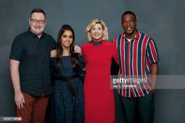 Chris Chibnall actors Mandip Gill Jodie Whittaker and Tosin Cole from 'Doctor Who' are photographed for Los Angeles Times on July 21 2018 in San...