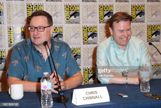Chris Chibnall and Matt Strevens attend BBC America's 'Doctor Who' at ComicCon International 2018 at San Diego Convention Center on July 19 2018 in...