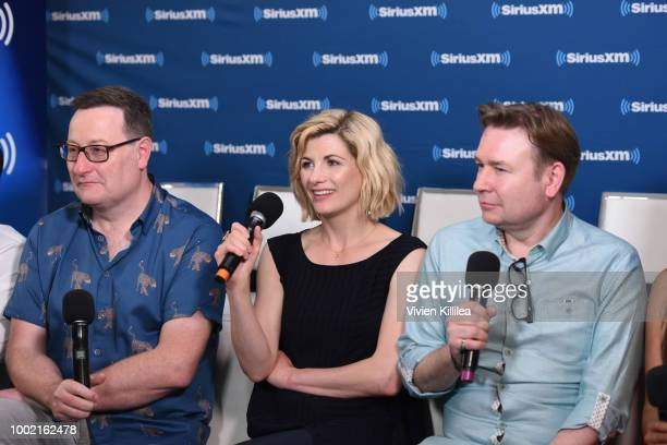 Chris Chibnall Jodie Whittaker and Matt Strevens attend SiriusXM's Entertainment Weekly Radio Broadcasts Live From Comic Con in San Diego at Hard...